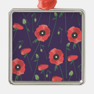 Blooming Springtime Poppies Purple Silver-Colored Square Ornament