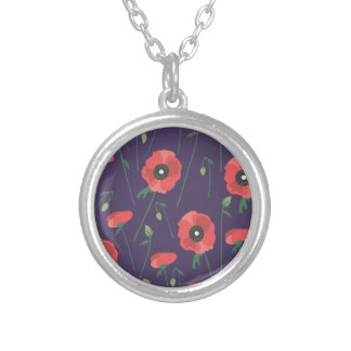 Blooming Springtime Poppies Purple Silver Plated Necklace