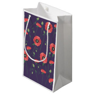 Blooming Springtime Poppies Purple Small Gift Bag