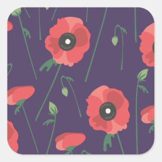 Blooming Springtime Poppies Purple Square Sticker
