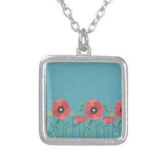 Blooming Springtime Poppies Silver Plated Necklace