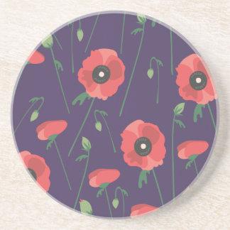 Blooming Springtime Poppy Purple Coaster