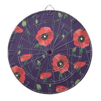 Blooming Springtime Poppy Purple Dartboard
