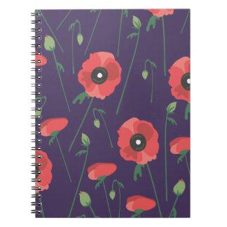Blooming Springtime Poppy Purple Notebook
