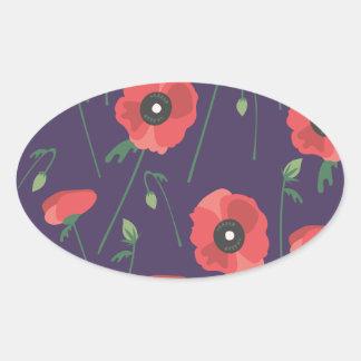 Blooming Springtime Poppy Purple Oval Sticker