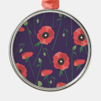 Blooming Springtime Poppy Purple Silver-Colored Round Ornament