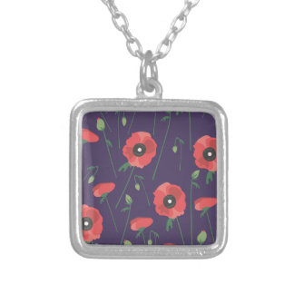 Blooming Springtime Poppy Purple Silver Plated Necklace