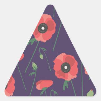 Blooming Springtime Poppy Purple Triangle Sticker