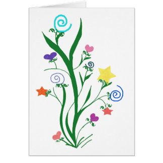 Blooming stars hearts and swirls blank note card
