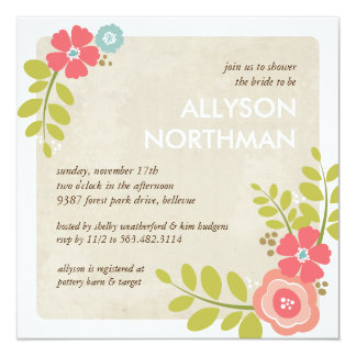 Blooming Swag Bridal Shower Invitation in Pink