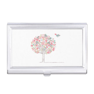 Blooming Tree and Birds in Love Business Card Holder