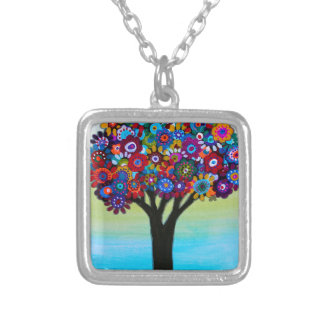 BLOOMING TREE SILVER PLATED NECKLACE