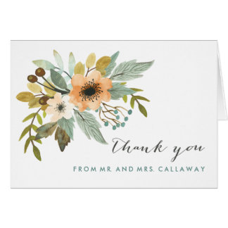 Blooming Watercolor Thank You Note Card