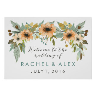 Blooming Watercolor Welcome Poster