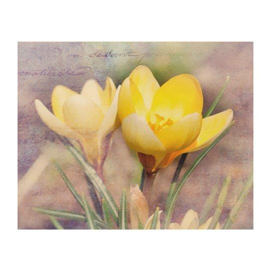 Blooming Yellow Crocus Wood Wall Decor