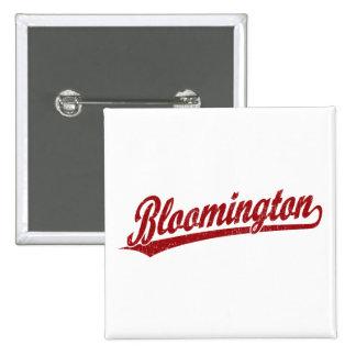 Bloomington script logo in red 2 inch square button