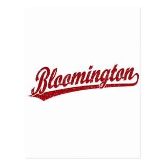 Bloomington script logo in red postcard