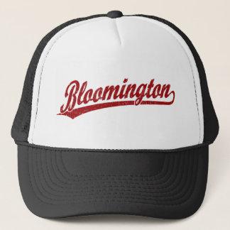 Bloomington script logo in red trucker hat