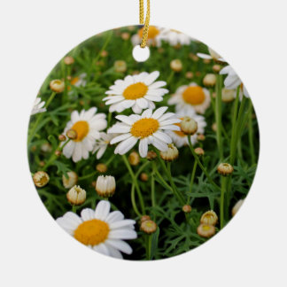 Blooms Boom Round Ceramic Ornament