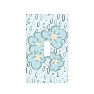 Bloomsbury Blue Flowery Spot Light Switch Cover