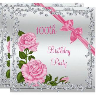 Blossom Bows & Diamonds 100th Birthday Card