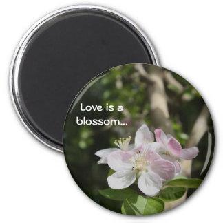 Blossom flower - love greeting 2 inch round magnet