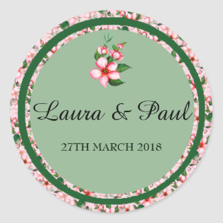 Blossom pink & green Wedding Sticker