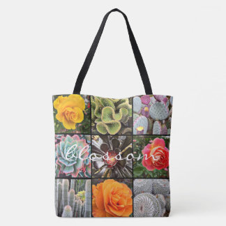 """Blossom"" quote cacti & roses grid photo tote bag"