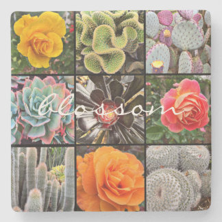 """Blossom"" quote cacti & roses photo stone coaster"