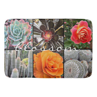 """""""Blossom"""" Quote Chic Cacti & Roses Close-up Photo Bath Mat"""