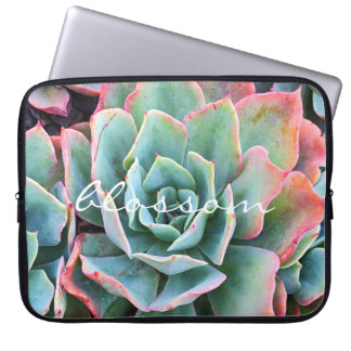 """Blossom"" Quote Pink & Green Cacti Close-up Photo Laptop Sleeve"