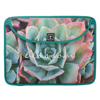 """Blossom"" Quote Pink & Green Cacti Close-up Photo Sleeve For MacBooks"