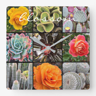 """Blossom"" Quote Vivid Cacti & Roses Close-up Photo Square Wall Clock"
