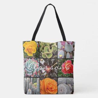 """Blossom"" quote vivid cacti & roses close-up photo Tote Bag"