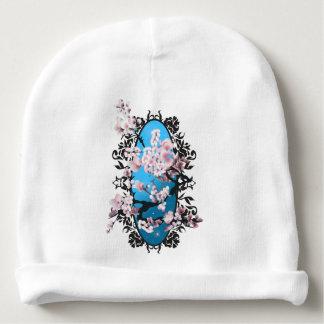Blossom spring sakura. Elegant flower silhouette. Baby Beanie