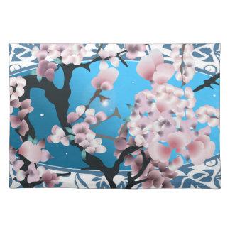 Blossom spring sakura. Elegant flower silhouette. Placemat