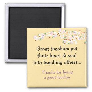 Blossom Teacher Saying Square Magnet