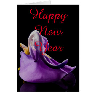 Blossom Violet Flower Happy New Year Christmas Greeting Card
