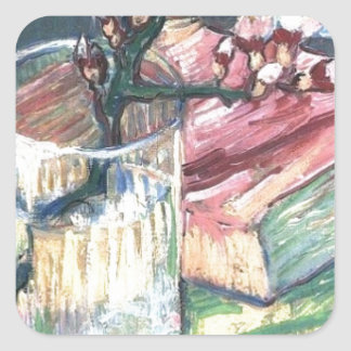 Blossoming Almond Branch in a glass and a book Square Sticker