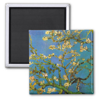 Blossoming Almond Tree by Van Gogh, Fine Art Square Magnet