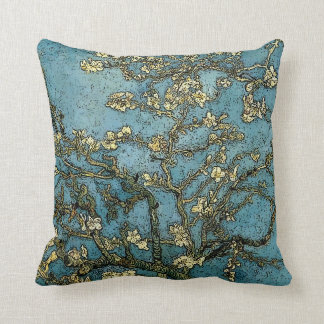 Blossoming Almond Tree (van Gogh) Grunge Throw Pillow