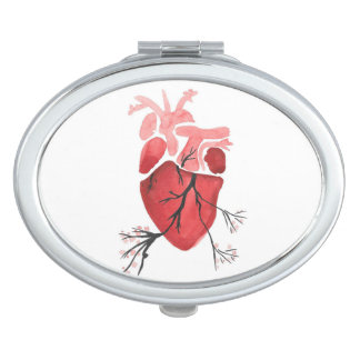 Blossoming Heart Compact Travel Mirror