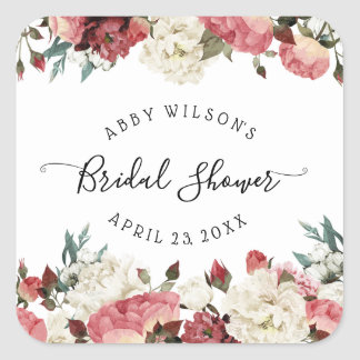 Blossoming Joy Spring Floral Bridal Shower Square Sticker
