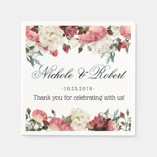 Blossoming Joy Spring Floral Wedding Custom Paper Napkin