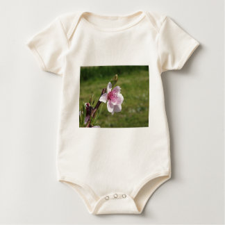 Blossoming peach tree against the green garden baby bodysuit