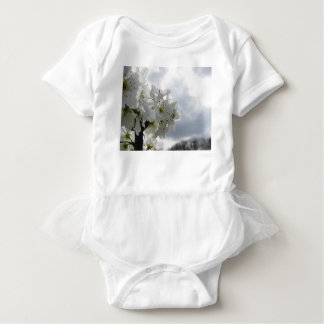 Blossoming pear tree against the cloudy sky baby bodysuit