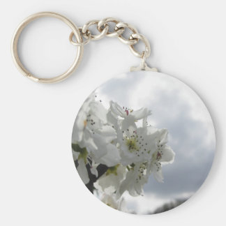 Blossoming pear tree against the cloudy sky keychain