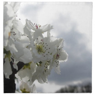 Blossoming pear tree against the cloudy sky napkin
