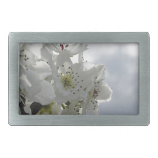 Blossoming pear tree against the cloudy sky rectangular belt buckle