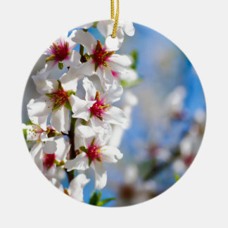 Blossoming tree branch with white flowers ceramic ornament